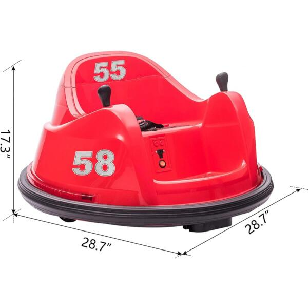 6V Electric Ride On 360 Spin Bumper Car for Kids with Remote Control, Red 7 25