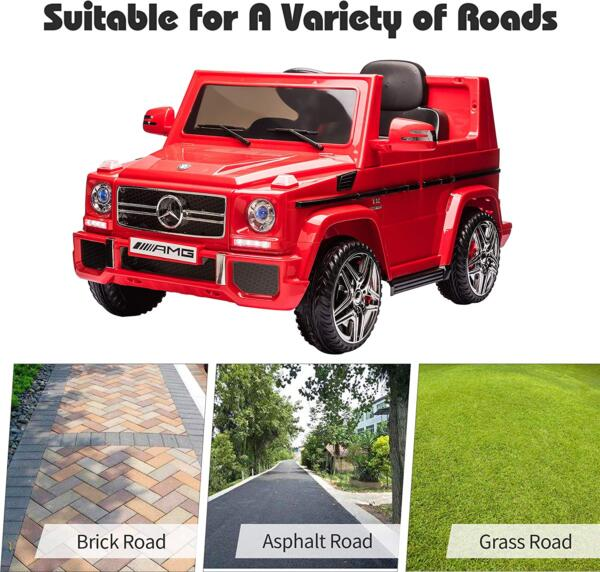 12V Licensed Mercedes Benz G65 Electric Ride on Car for Kids with Remote Control, Red 7 3