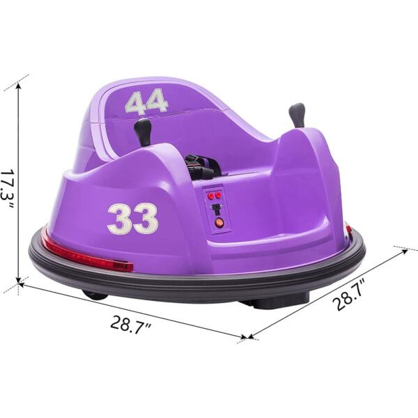 Kid's Electric Ride On 360 Spin Bumper Car with Remote Control, Purple 7 36