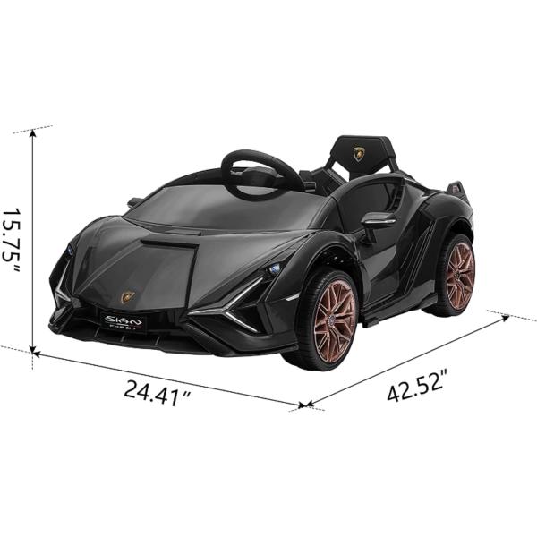 12V Lamborghini Sian Ride on Kids Electric Car with Remote Control, Black 7 5