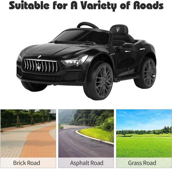 Maserati Kids Car 12V Ride On With Remote, Black 7 58