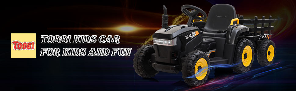 12V Electric Kids Ride-On Tractor with Trailer, Black 7 61