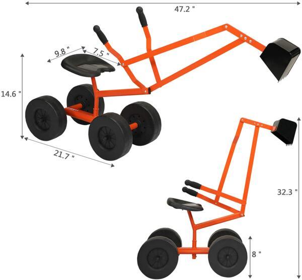 Kids Ride On Sandbox Digger Toys Little Sandbox Excavator for Boys and Girls, Orange 7 7