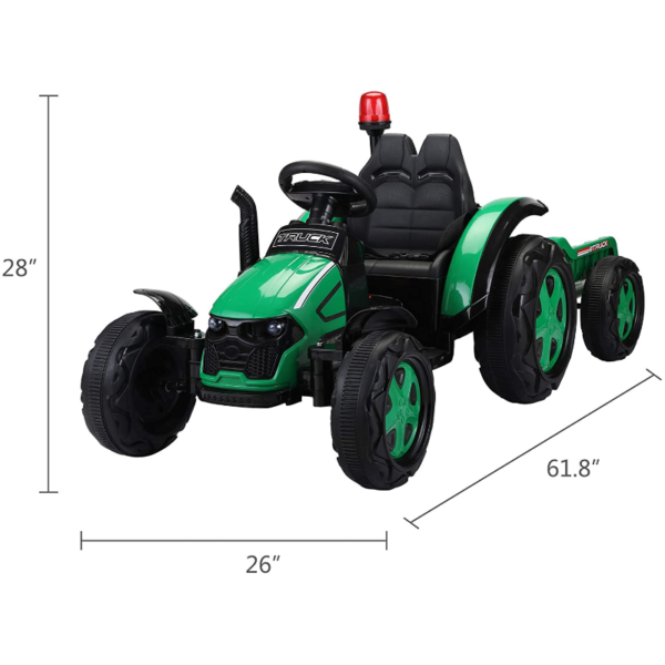 12V Electric Kids Ride on Tractor with Trailer for Boys and Girls, Jade Green 7 7