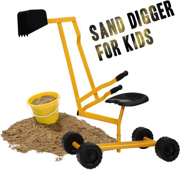 Kids Ride On Sandbox Digger Toys Little Sandbox Excavator for Boys and Girls, Yellow 7 8