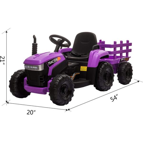 12V Battery-Powered Electric Tractor Kids Ride on Toy Gift, Purple 8 1 1