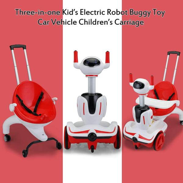 Three-in-one Robot Kids Electric Buggy With Baby Carriages, Red + White 8 1