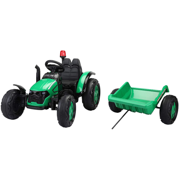 12V Electric Kids Ride on Tractor with Trailer for Boys and Girls, Jade Green 8 1