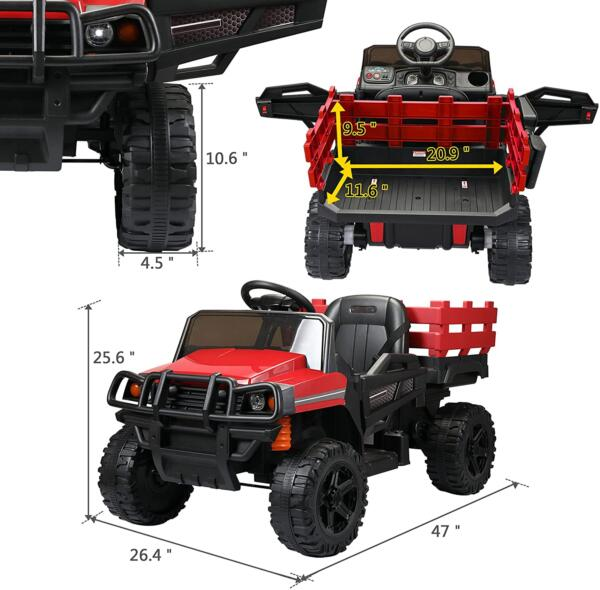 12V Electric Truck for Kids with Remote Control Ride On Toy with Trailer, Red 8 10