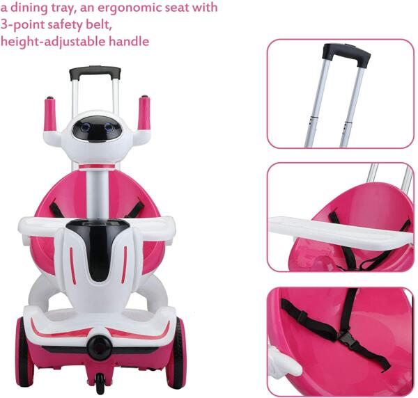 Three-in-one Robot Kids Electric Buggy With Remote Control & Baby Carriages, Rose Red + White 8 11