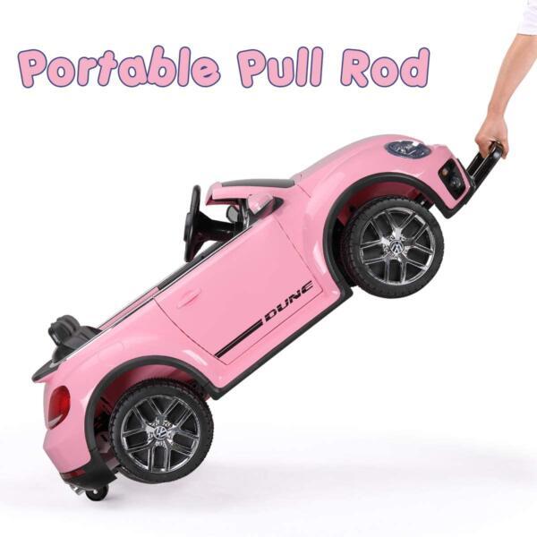 12V Licensed Volkswagen Beetle Dune Kids Electric Car with Remote Control, Pink 8 12