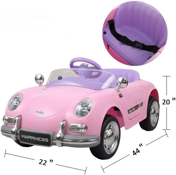 Vintage Style Battery Powered Kids Ride on Car with Remote Control, Pink 8 13