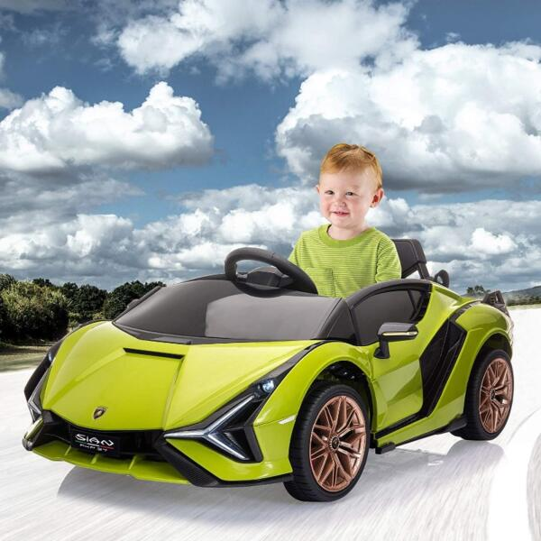 12V Licensed Lamborghini Sian Children's Electric Ride On Car, Green 8 17