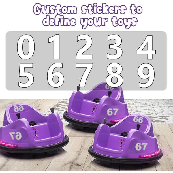 Kid's Electric Ride On 360 Spin Bumper Car with Remote Control, Purple 8 25