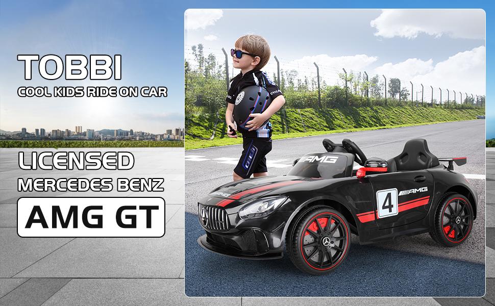 12V Electric Licensed Mercedes Benz AMG GT Kid Ride on Car, Black 8 29