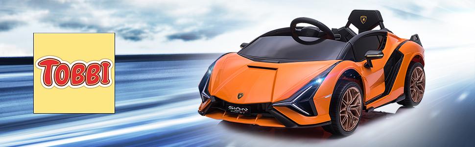 12V Licensed Lamborghini Sian Battery Powered Kids Ride On Car with Remote Control, Orange 8 3