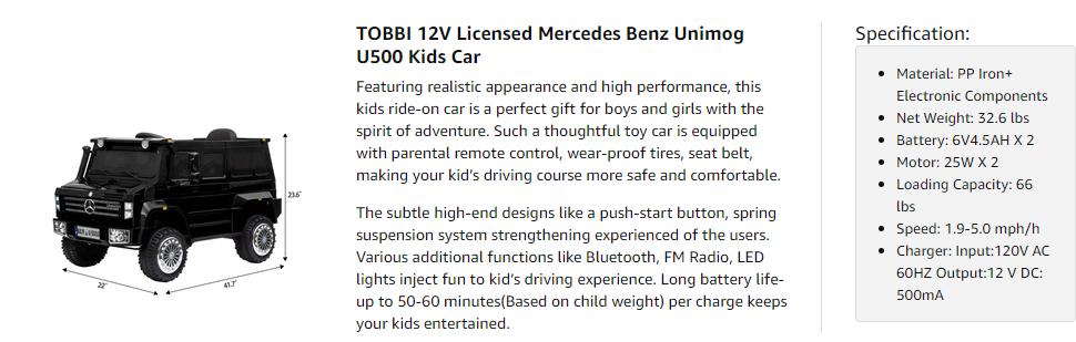 6V Mercedes Benz Unimog U500 Kids Ride on SUV Car with Remote Control, Black 8 3
