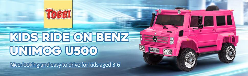 6V Mercedes Benz Unimog U500 Kids Ride on SUV Car with Remote Control, Rose Red 8 38