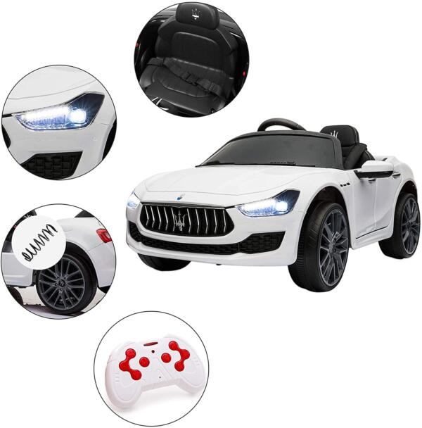 Maserati Kids Car 12V Ride On With Remote, White 8 40