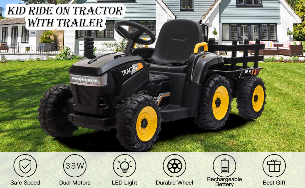 12V Electric Kids Ride-On Tractor with Trailer, Black 8 41