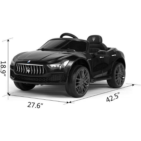 Maserati Kids Car 12V Ride On With Remote, Black 8 5