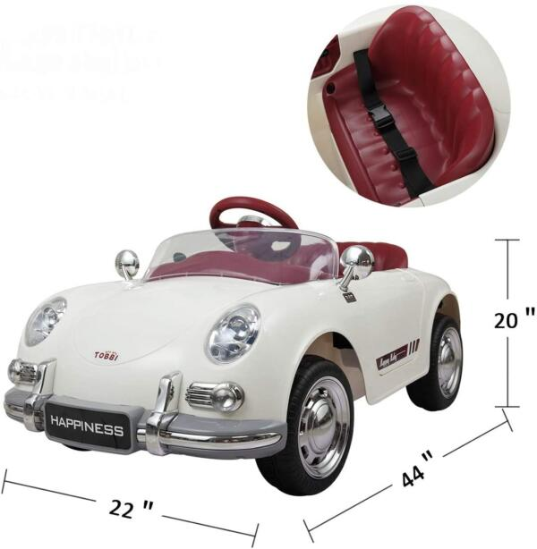Vintage Style Battery Powered Kids Ride on Car with Remote Control, White 8 9