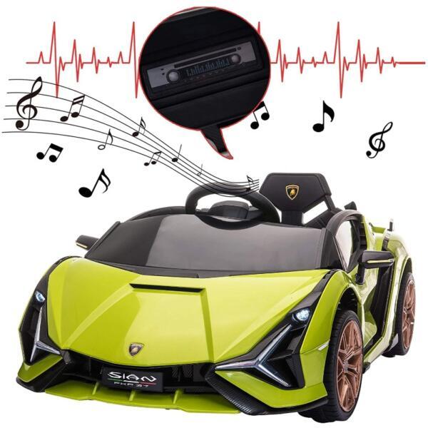 12V Licensed Lamborghini Sian Children's Electric Ride On Car, Green 9 10