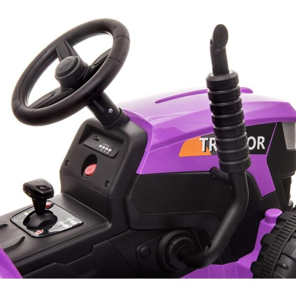 12V Battery-Powered Electric Tractor Kids Ride on Toy Gift, Purple 9 11