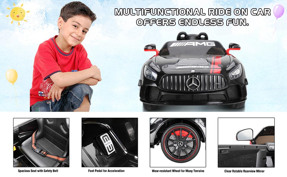 12V Electric Licensed Mercedes Benz AMG GT Kid Ride on Car, Black 9 17