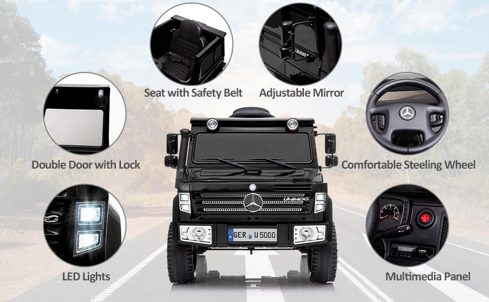 6V Mercedes Benz Unimog U500 Kids Ride on SUV Car with Remote Control, Black 9 20