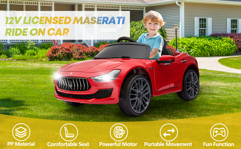 Maserati Kids Car 12V Ride On With Remote, Red 9 23