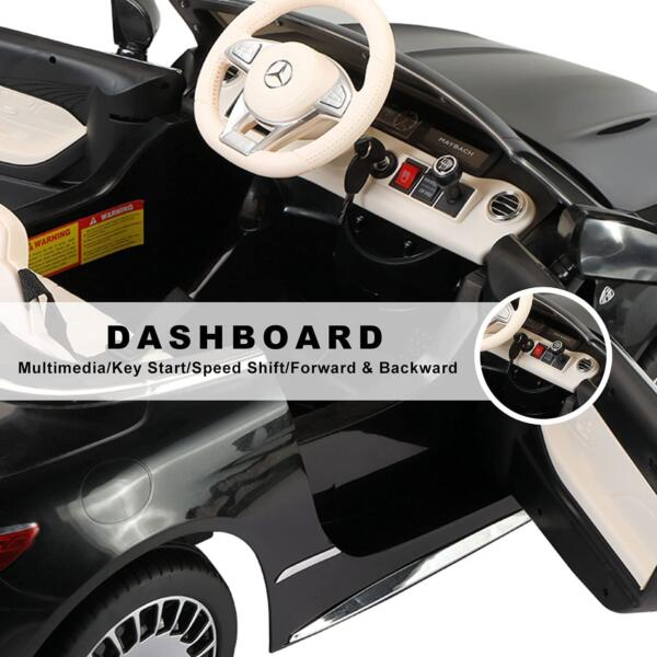 TOBBI 12V Ride on Car with Remote Control, Mercedes-Maybach S650 Electric Ride on Vehicles Cars for Kids w/ MP3 Bluetooth, Black 9 3
