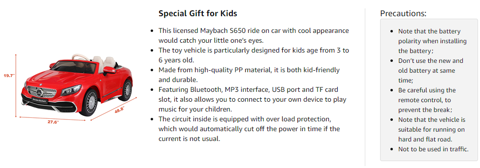 12V Mercedes-Maybach Kids Ride on Car with Remote Conrtol, Red 9 3