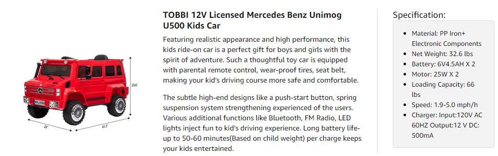 6V Mercedes Benz Unimog U500 Kids Ride on SUV Car with Remote Control, Red 9 4