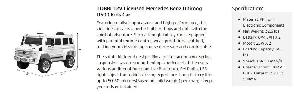 6V Mercedes Benz Unimog U500 Kids Ride on SUV Car with Remote Control, White 9 5
