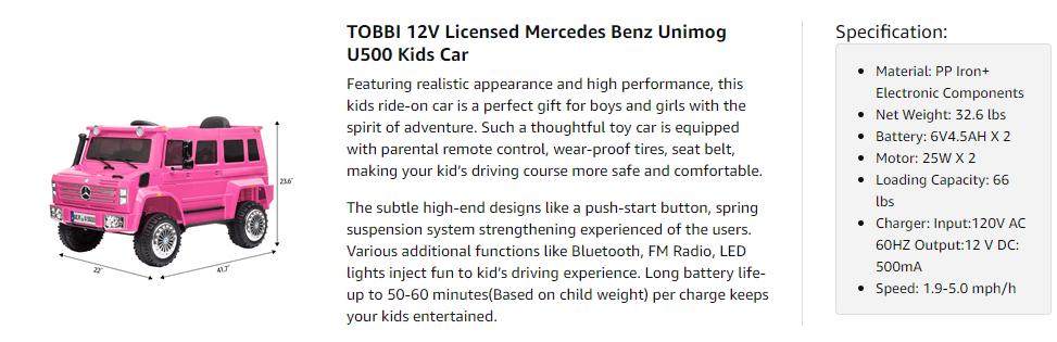 6V Mercedes Benz Unimog U500 Kids Ride on SUV Car with Remote Control, Rose Red 9 7