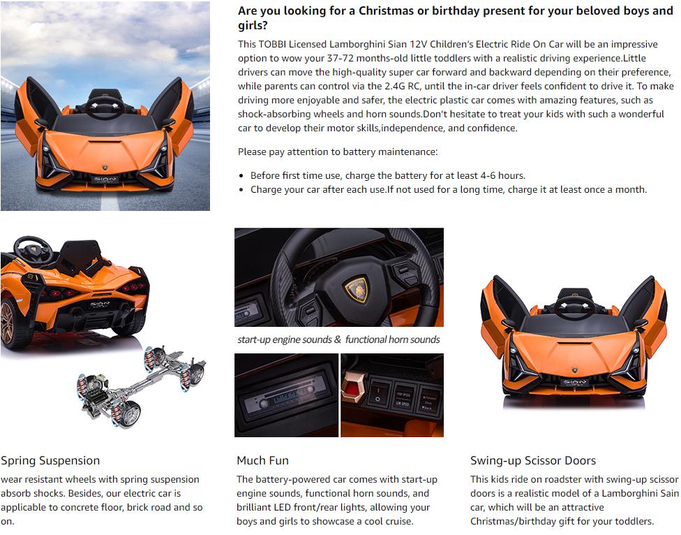 12V Licensed Lamborghini Sian Battery Powered Kids Ride On Car with Remote Control, Orange 9