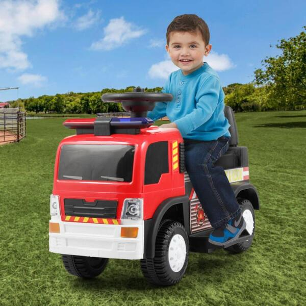 Ride On Fire Truck Car 6V Vehicle for Kids, Red TH17A042720