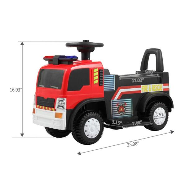 Ride On Fire Truck Car 6V Vehicle for Kids, Red TH17A042729