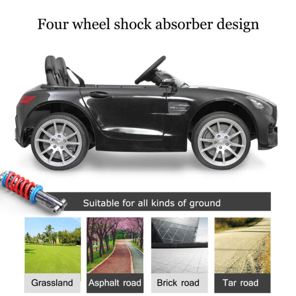 Mercedes Benz Licensed 12V Kids Electric Ride On Car with 2 Seater, Black TH17B0374 69