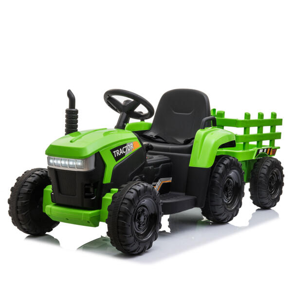 12v Battery-Powered Tractor with Trailer, Green TH17H0486 2