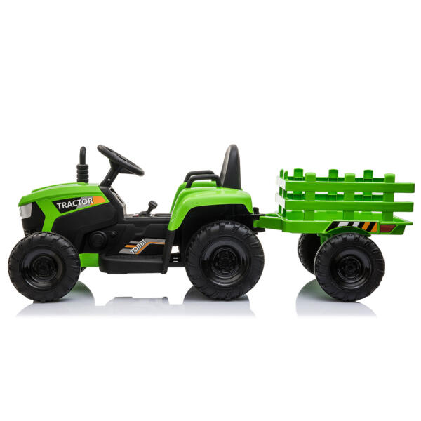 12v Battery-Powered Tractor with Trailer, Green TH17H0486 4