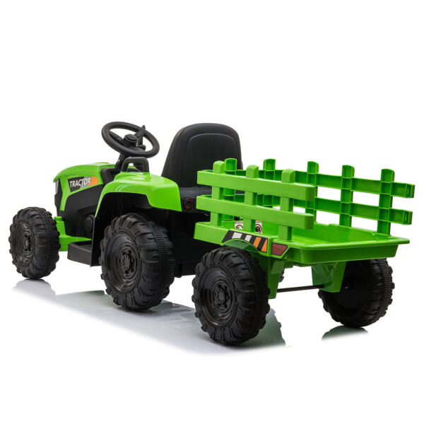 12v Battery-Powered Tractor with Trailer, Green TH17H0486 5