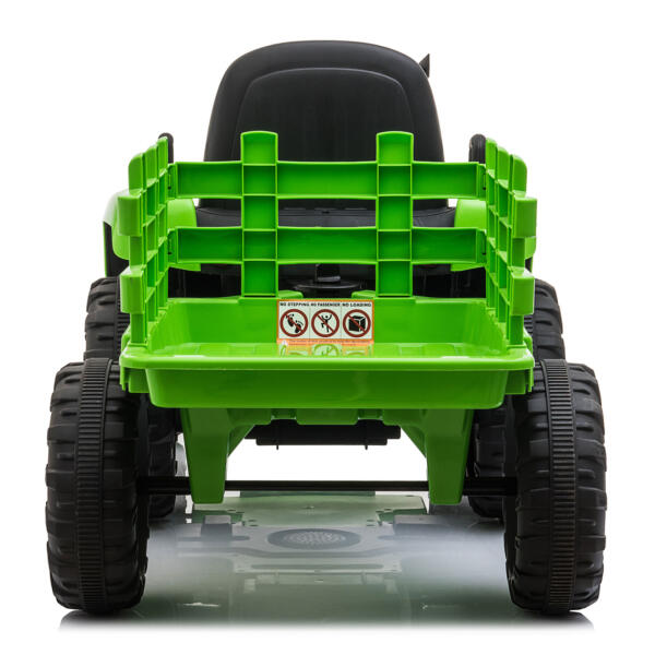 12v Battery-Powered Tractor with Trailer, Green TH17H0486 7