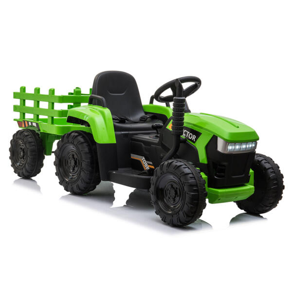 12v Battery-Powered Tractor with Trailer, Green TH17H0486 9