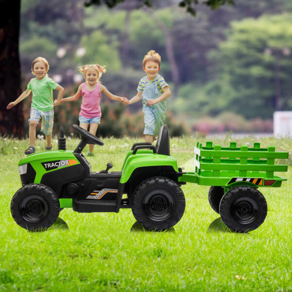 12v Battery-Powered Tractor with Trailer, Green TH17H0486 cj1