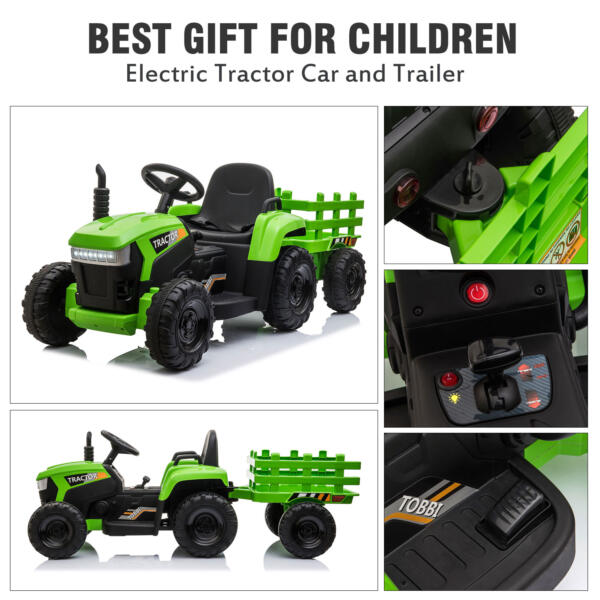12v Battery-Powered Tractor with Trailer, Green TH17H0486 zt3