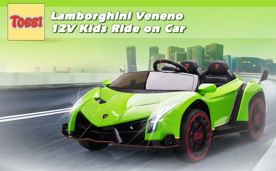 12V Lamborghini Ride On Car With Remote Control 2 Seater, Green