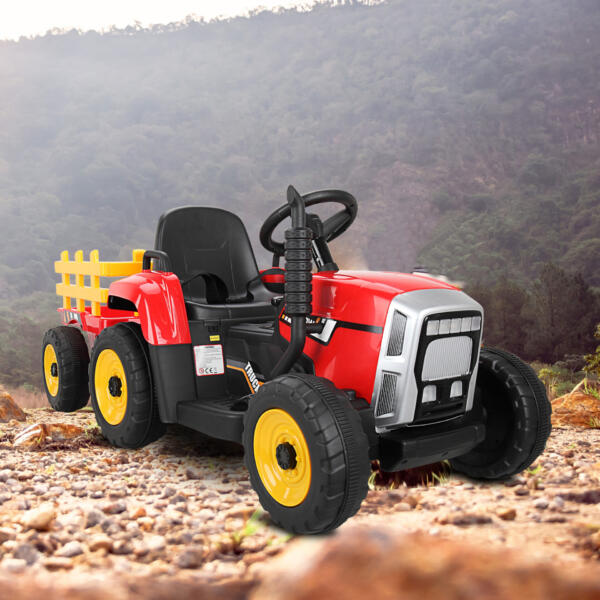 12v Battery-Powered Tractor with Trailer, Red TH17N0490 2000X20002
