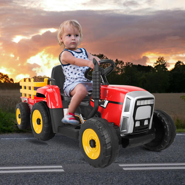 12v Battery-Powered Tractor with Trailer, Red TH17N0490 cj2